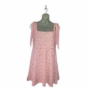 NWT Boohoo Pink Floral Square Neck Sundress Large